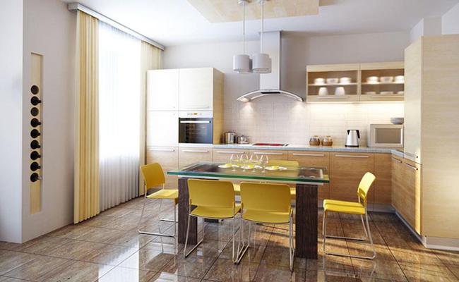 Sơn trắng toàn bộ không gian kết hợp nội thất gỗ - màu công thức cho một căn bếp nhỏ tinh tế và hiện đại